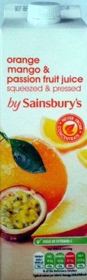 Orange, mango & passion fruit juice squeezed and pressed