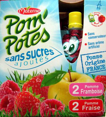Pom'Potes pomme framboise et pomme fraise Materne