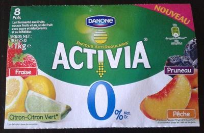 Activia 0% (Fraise, Citron-Citron vert, Pruneau, Pêche)