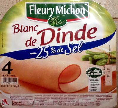 Blanc de Dinde (- 25 % de Sel) 4 Tranches