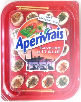 Apérivrais saveurs d'Italie, tomate-basilic-olive