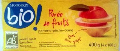 Purée de fruit pomme-pêche-coing bio