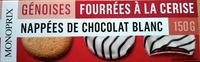 Génoises fourrées à la cerise nappées de chocolat blanc - Produit