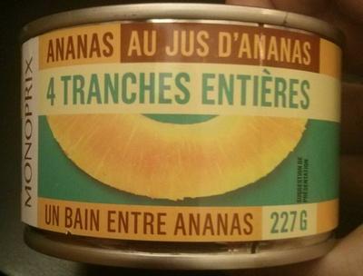 Ananas au jus d'ananas 4 tranches entières