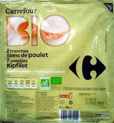 Blanc de poulet 2 tranches Bio Carrefour