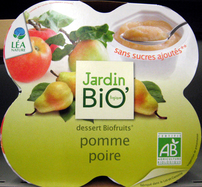 Dessert Biofruits Pomme Poire Jardin Bio