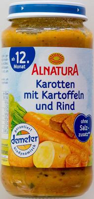 Karotten mit Kartoffeln und Rind